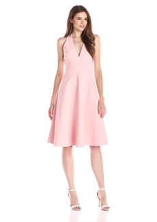 HALSTON HERITAGE Women's Sleeveless Deep V Neck Crop Midi Dress with Back Cut Out
