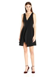 HALSTON HERITAGE Women's Sleeveless Deep V Neck Flounce Skirt Dress