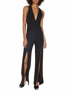 Halston Heritage Women's Sleeveless Deep V Neck Jumpsuit with Slits