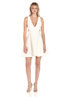 HALSTON HERITAGE Women's Sleeveless Deep V Neck Silk Faille Dress with Cut Outs