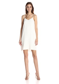 Halston Heritage Women's Sleeveless Double Strap Cami Slip Dress chalk L