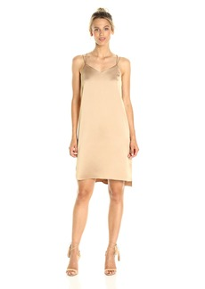 HALSTON HERITAGE Women's Sleeveless Double Strap Satin Slip Dress  L