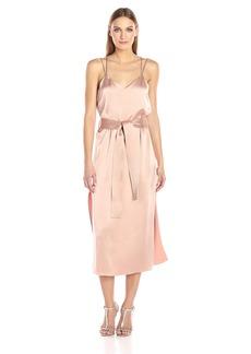 HALSTON HERITAGE Women's Sleeveless Double Strap Satin Slip Dress  M