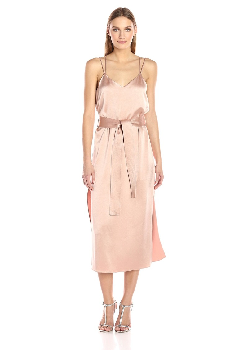 Halston Heritage Women's Sleeveless Double Strap Satin Slip Dress  XS