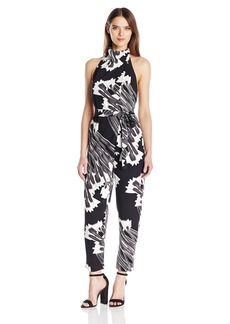 Halston Heritage Women's Sleeveless Drape Front Printed Jumpsuit Black Crocus