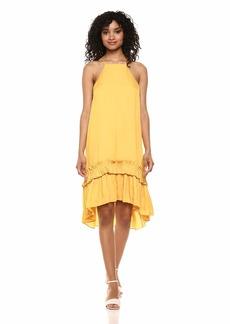 Halston Heritage Women's Sleeveless Dress with Pleated Ruffle Hi-Lo Hem