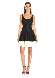Halston Heritage Women's Sleeveless Dress with Structured Tulip Skirt