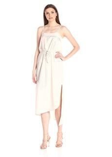 HALSTON HERITAGE Women's Sleeveless Embroidered Asymmetric Maxi Dress with Tie