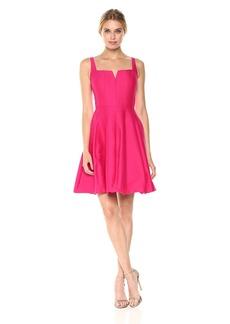 HALSTON HERITAGE Women's Sleeveless Geometric Neck Silk Faille Dress