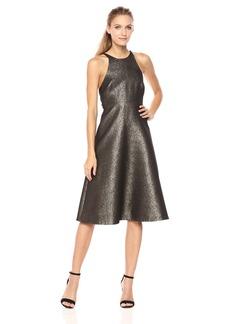 HALSTON HERITAGE Women's Sleeveless Glitter Jacquard Dress with Back Bow