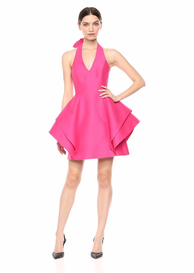 Halston Heritage Women's Sleeveless Halter Dramatic Flounce Skirt Dress