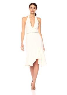 Halston Heritage Women's Sleeveless Halter Dress with Embellished Waist