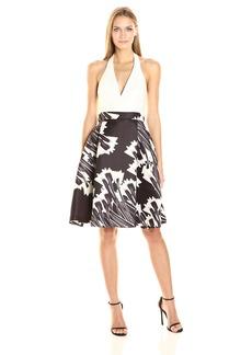 HALSTON HERITAGE Women's Sleeveless Halter Neck Blocked Dress