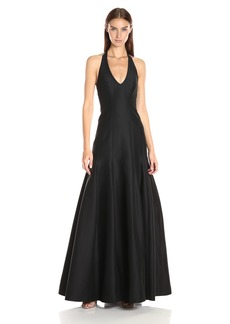 Halston Heritage Women's Sleeveless Halter Neck Gown with Tulip Skirt