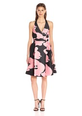 Halston Heritage Women's Sleeveless Halter Neck Printed Structured Dress