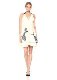 Halston Heritage Women's Sleeveless Halter Neck Tiered Skirt Dress With Embellishment