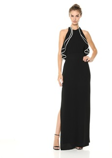 Halston Heritage Women's Sleeveless High Halter Neck Ruffle Detail Gown