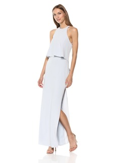 Halston Heritage Women's Sleeveless High Neck Back Ruffle Drape Gown