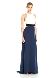 Halston Heritage Women's Sleeveless High Neck Color Blockd Gown with Cut Outs