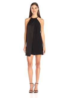 HALSTON HERITAGE Women's Sleeveless High Neck Combo Dress with Snake Chain Strap