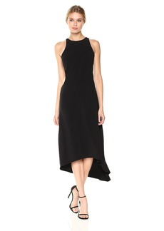 Halston Heritage Women's Sleeveless High Neck Crepe Dress With Back Cut Out