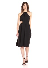 Halston Heritage Women's Sleeveless High Neck Draped Crepe Dress with Cut Outs