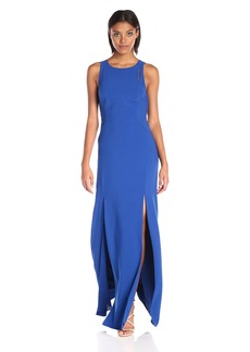 HALSTON HERITAGE Women's Sleeveless High Neck Dress with Back Cut Out