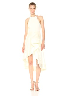 Halston Heritage Women's Sleeveless High Neck Dress with Flounce Sheer Skirt