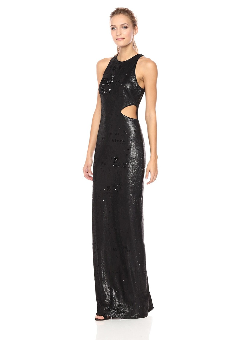 131b0fe1 Halston Heritage Women's Sleeveless High Neck Fitted Sequin Gown Matte  Shiny Black