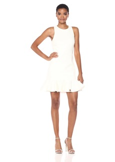 Halston Heritage Women's Sleeveless High Neck Fitted Shimmer Knit Dress  M