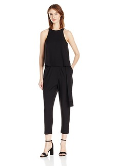 Halston Heritage Women's Sleeveless High Neck Flounce Jumpsuit with Sash