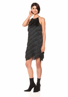 Halston Heritage Women's Sleeveless High Neck Fringe Slip Dress