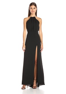Halston Heritage Women's Sleeveless High Neck Gown with Multichain Back