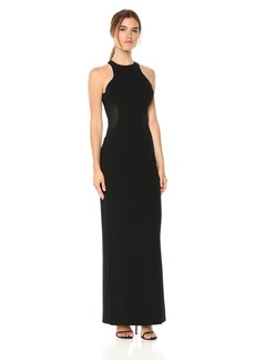 Halston Heritage Women's Sleeveless High Neck Gown with Strip Applique