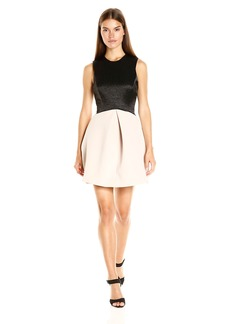 Halston Heritage Women's Sleeveless High Neck Jacquard Combo Dress