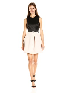 Halston Heritage Women's Sleeveless High Neck Jacquard Combo Dress