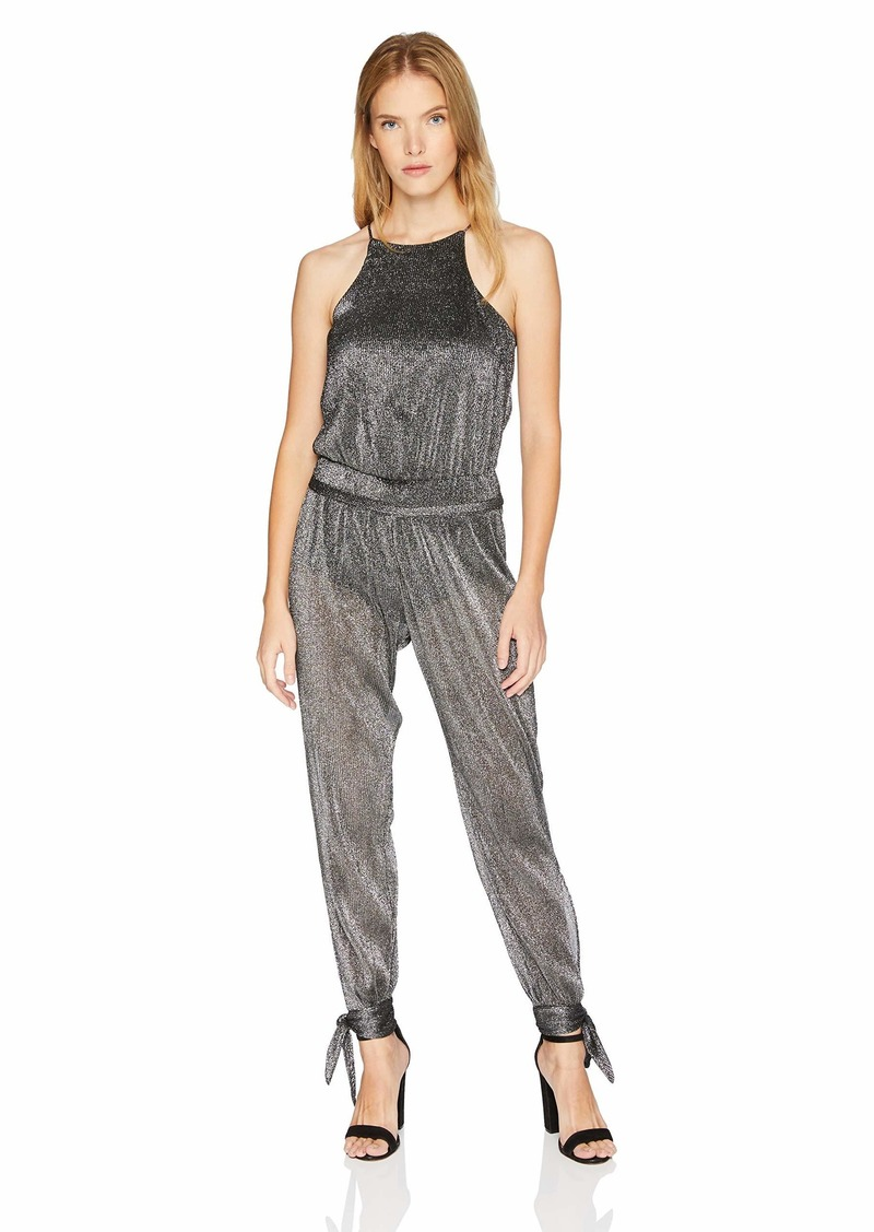 Halston Heritage Women's Sleeveless High Neck Jumpsuit with Ankle Ties