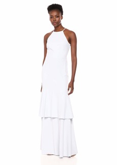 Halston Heritage Women's Sleeveless High-Neck Mesh Back Tiered Gown