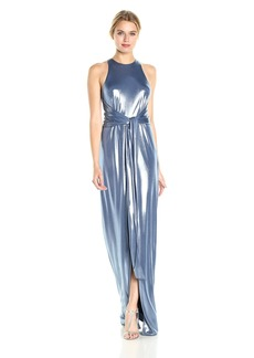 Halston Heritage Women's Sleeveless High Neck Metallic Jersey Gown with Sash Coastal Blue XS