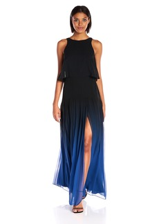 Halston Heritage Women's Sleeveless High Neck Ombre Gown with Back Cut Out