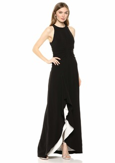 Halston Heritage Women's Sleeveless High-Neck Open Drape Gown with Ruching