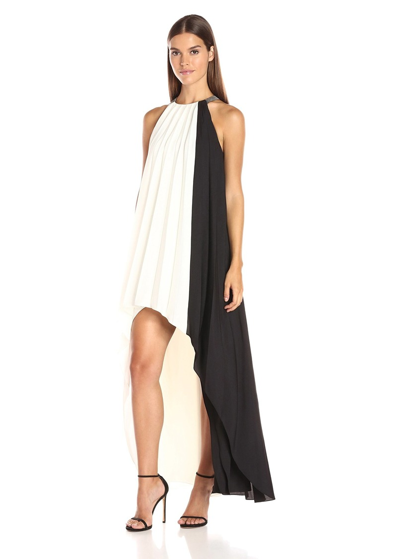 HALSTON HERITAGE Women's Sleeveless High Neck Pleated Colorblocked Hi-Low Dress
