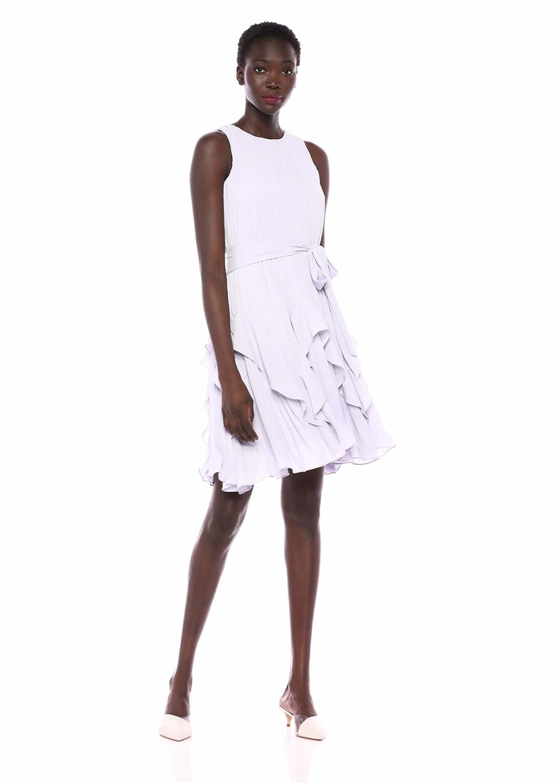 Halston Heritage Women's Sleeveless High-Neck Pleated Dress with Sash  XS