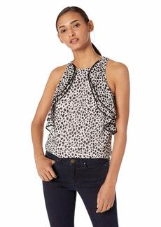Halston Heritage Women's Sleeveless High-Neck Printed Top with Flounce Buff/Black Petal Dots