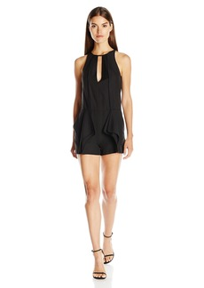 Halston Heritage Women's Sleeveless High Neck Romper with Flounce and Binding
