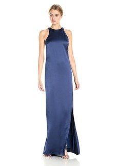Halston Heritage Women's Sleeveless High Neck Satin Gown with Back Drape  XS
