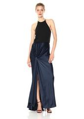 Halston Heritage Women's Sleeveless High Neck Satin Gown with Twist Drape Skirt