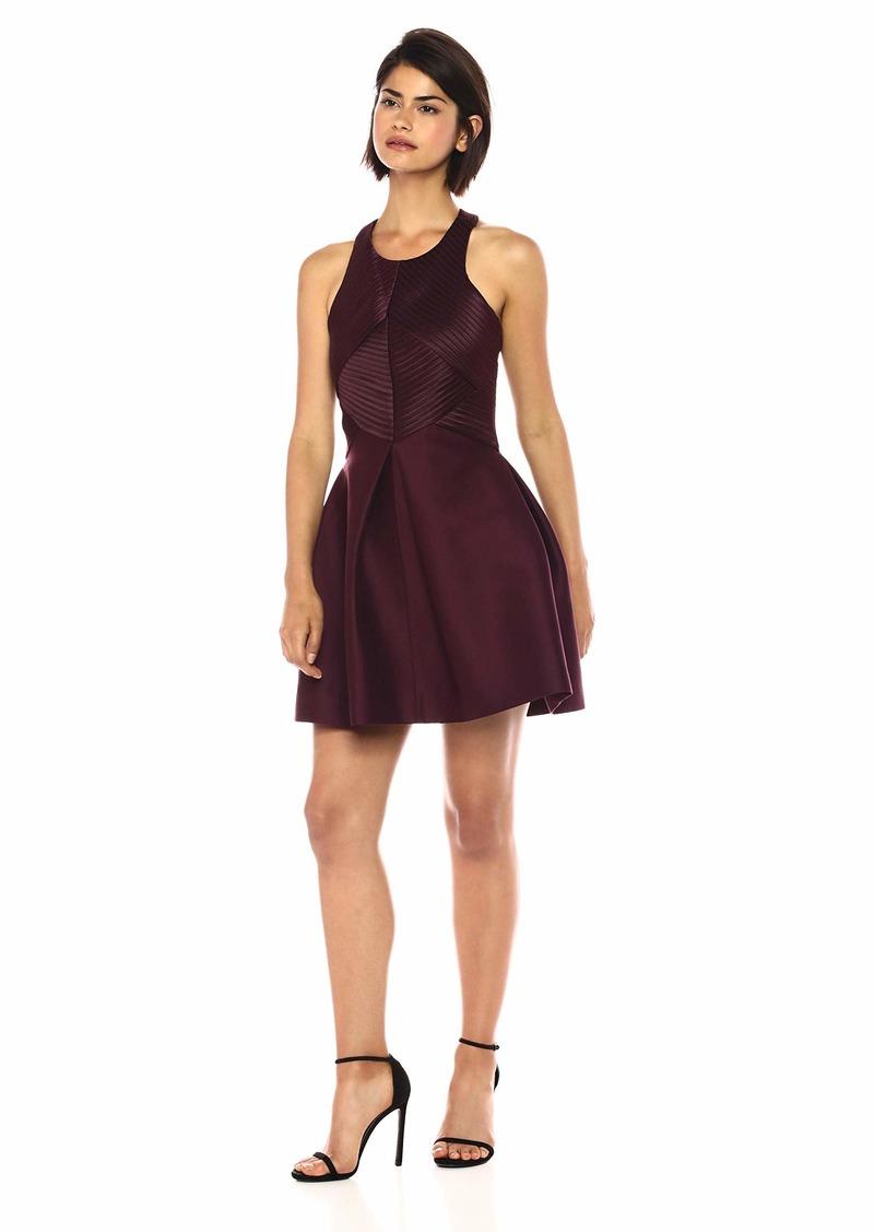 Halston Heritage Women's Sleeveless High Neck Satin Strip Structure Dress