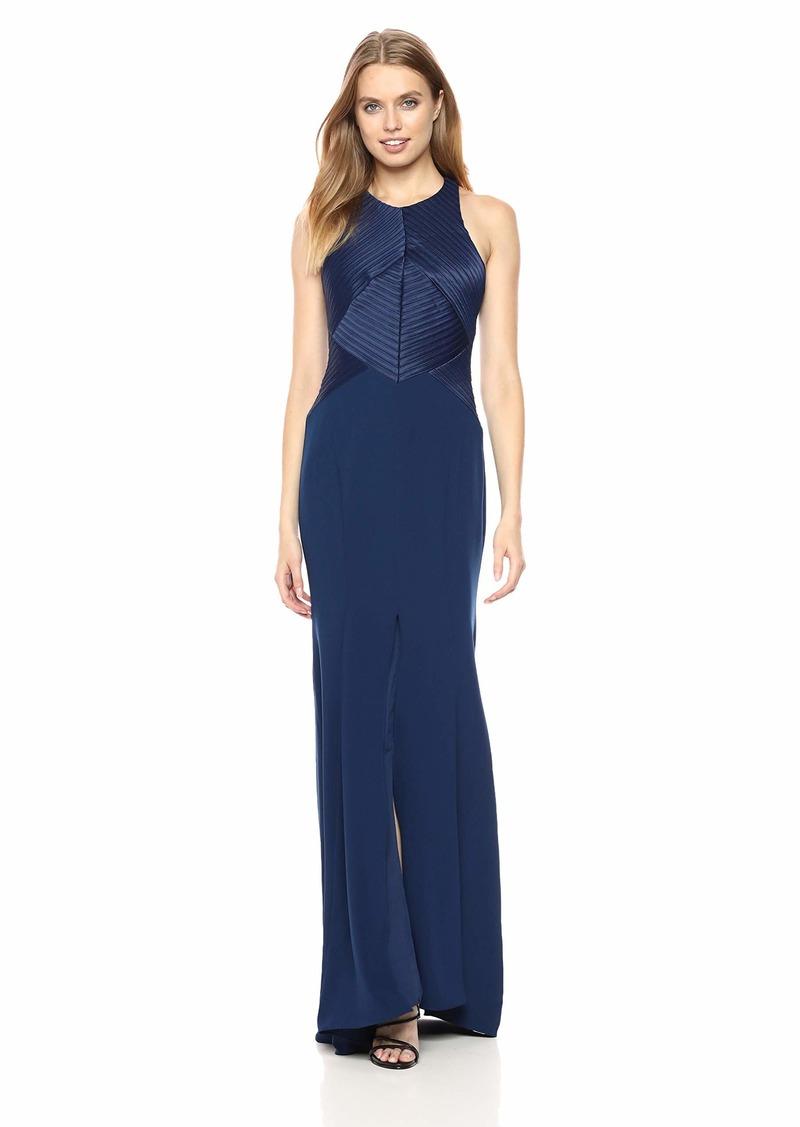 Halston Heritage Women's Sleeveless High Neck Satin Strips Gown