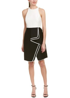 Halston Heritage Women's Sleeveless High Neck Structurd Dress with Flounce Skirt